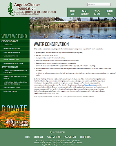 Angeles Chapter Foundation Water Conservation